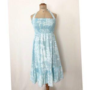 Vintage blue Hawaiian halter dress sz: M summer